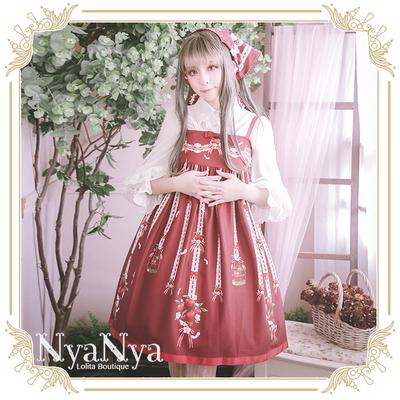 taobao agent 【Spot goods】NyaNya White Feather Ringo Lolita Original Printed Sling Small High Waist JSK