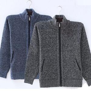 Mùa thu và mùa đông nam áo len áo len cardigan cashmere áo len dày cộng với nhung trung niên tuổi trung niên cha nạp