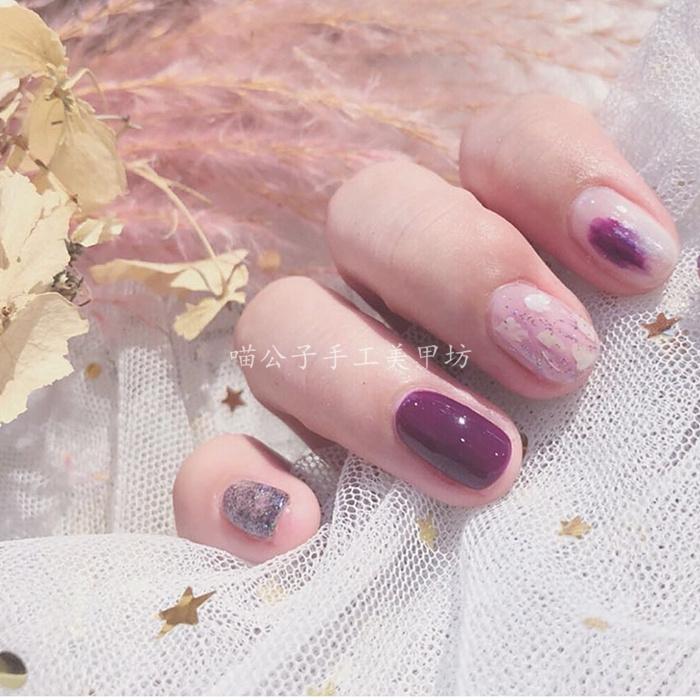 假指甲贴片光疗成品浪漫紫色晕染抖音穿戴新娘甲孕妇甲片美甲定制