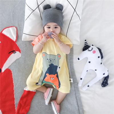 036912个月婴儿连体衣夏季短袖新生儿男女宝宝全棉外出哈衣爬服潮