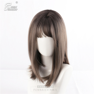 taobao agent Fenner Women's Medium-length Straight Hair Realistic Net Red Clavicle Hair Short Hair Aoki Linen Gray Gradient Daily Wig