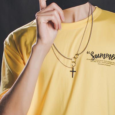 欧美街头新款潮牌圆圈十字架多层项链男女情侣复古个性嘻哈配饰品