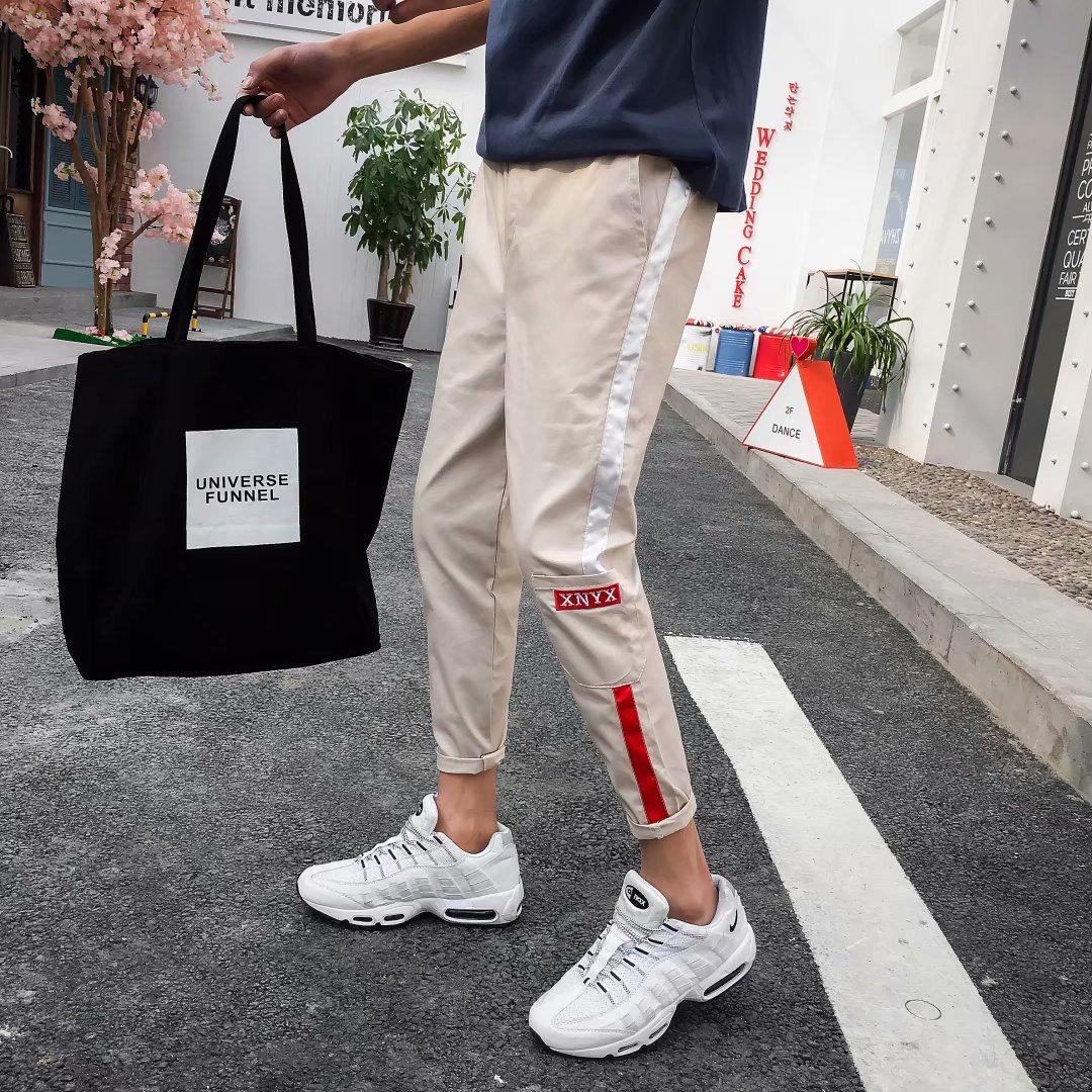 Quần cắt cạp quần nam mùa hè nam xu hướng quần dài Hàn Quốc Quần bó chân hoang dã thể thao quần harem - Crop Jeans
