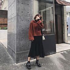 港味学生时髦bf甜美软妹小清新上衣配裙子卫衣短裙两件套装女秋冬