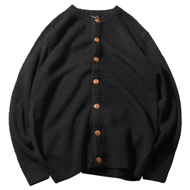 Mùa đông Nhật Bản retro áo len cardigan nam thanh niên thường dày áo len màu tinh khiết hoang dã cardigan áo khoác nam Cardigan
