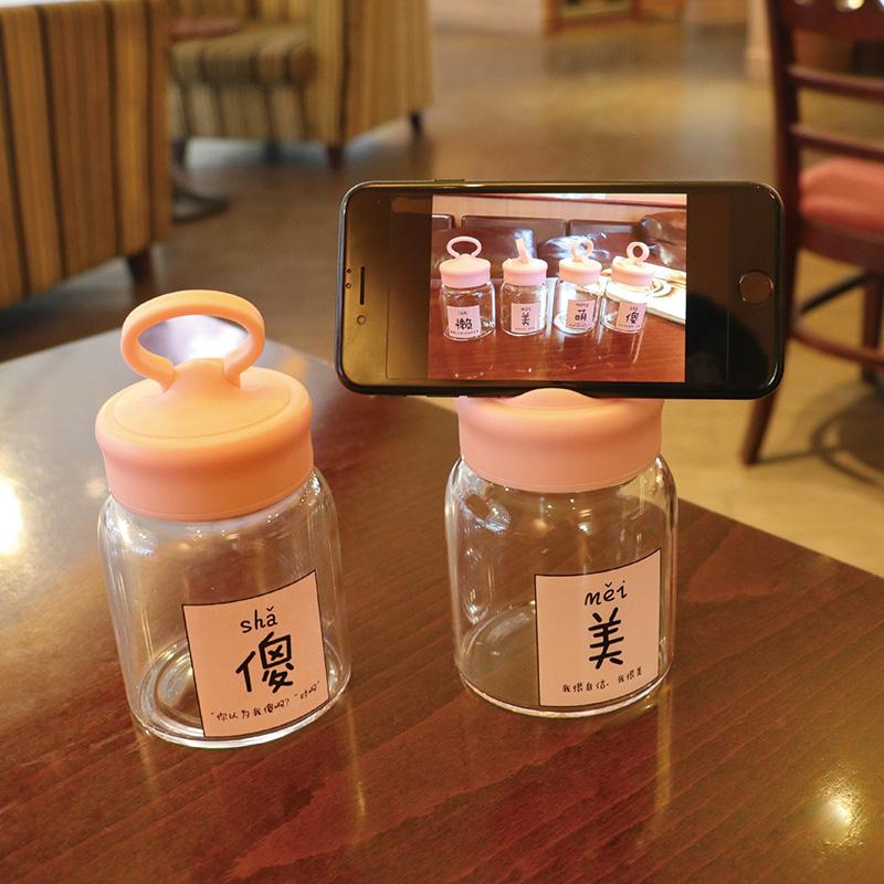 日本原宿风文字超萌玻璃杯,20元女生小礼物