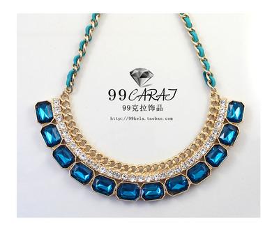99克拉 欧美饰品 品牌时尚闪钻 人工水晶金色边 短款项链(IF)