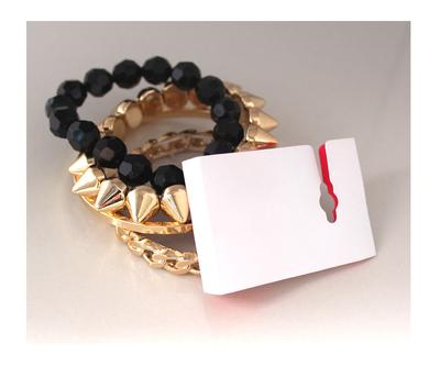 99克拉 欧美时尚 品牌质感多层金黑色链条串珠锥形手镯手链(KJ)
