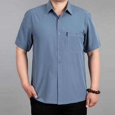 Mùa xuân và mùa hè người đàn ông trung niên của XL ngắn tay không-sắt áo sơ mi phần mỏng silk silk silk daddy áo sơ mi sơ mi công sở Áo