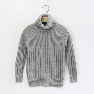 冬季时尚韩版男女童加绒加厚套头毛衣