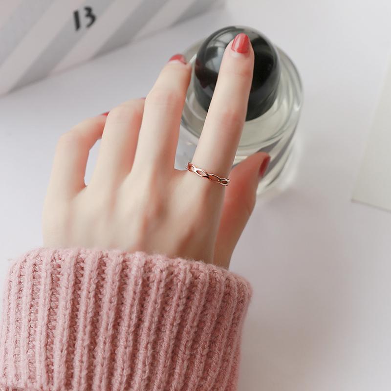 网红日韩潮人时尚几何钛钢戒指女韩国时尚个性指环学生食指戒