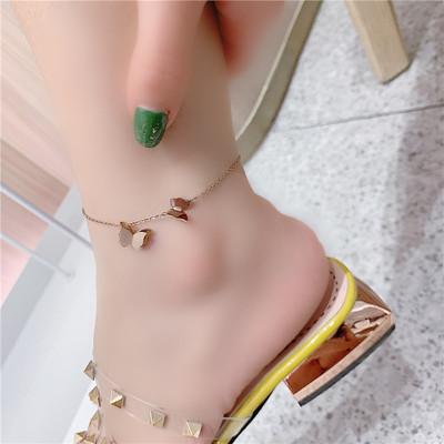 时尚个性钛钢磨砂蝴蝶脚链女百搭玫瑰金脚链女生百搭饰品