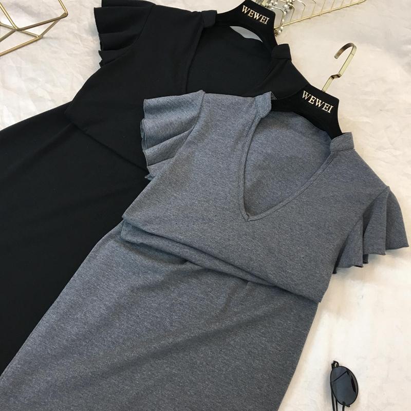 2018 mùa hè sản phẩm mới Châu Âu và Hoa Kỳ ins sexy xem nấm tay áo V cổ áo Slim là mỏng dài ăn mặc