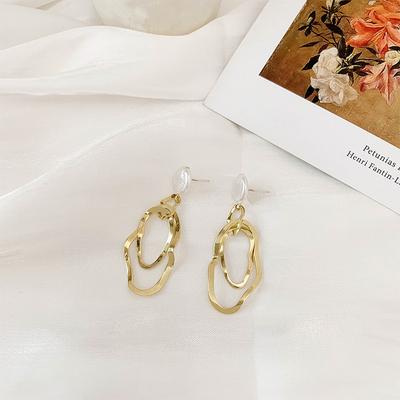 珍珠不规则镂空金属耳环女潮网红气质百搭长款耳钉高级感法式耳饰
