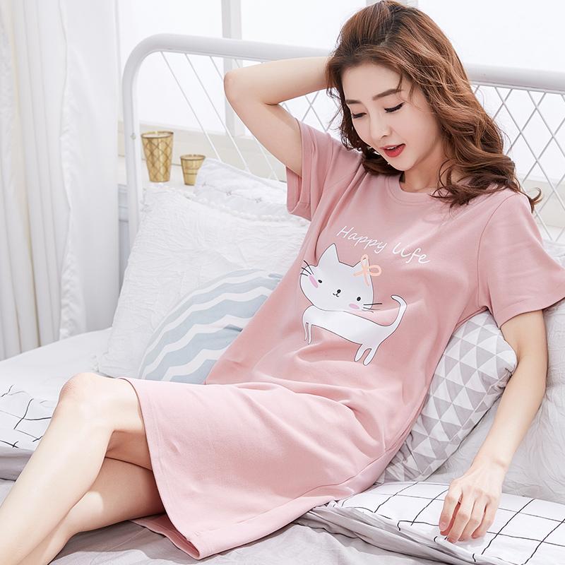Hàn quốc phiên bản của nightdress nữ mùa hè cotton ngắn tay ngọt ngào tươi đồ ngủ nữ mùa hè dễ thương phim hoạt hình sinh viên lỏng dịch vụ nhà