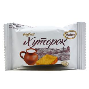 俄罗斯进口农庄威化饼干酥脆芝士鲜奶味