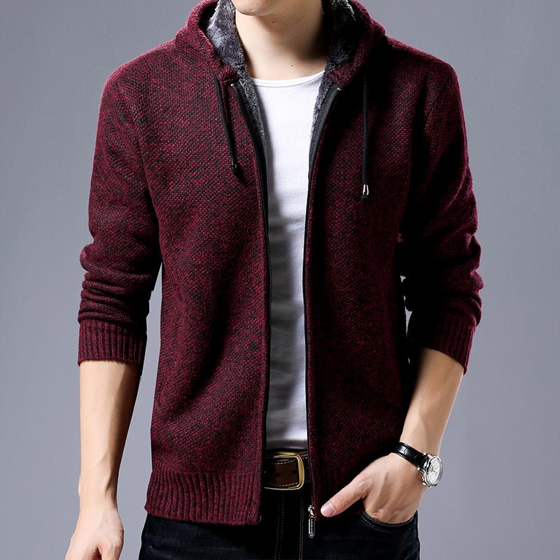 袋鼠男装新款 秋冬装男士男装连帽针织开衫毛衣外套 保暖羊毛衫