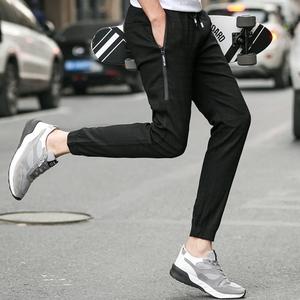 新款提花男休闲裤韩版修身款2017夏季哈伦裤弹力9分裤潮流
