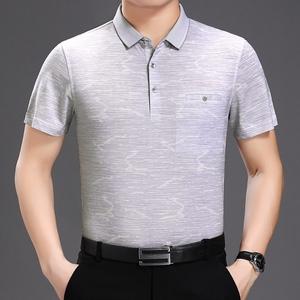 新款短袖T恤男士2018夏季新款中年男装翻领双丝光棉爸爸装A10
