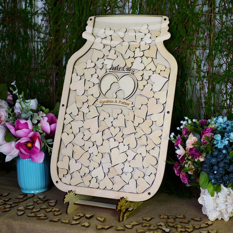 木质梅森瓶签到本板树画签名结婚礼庆生日聚会指纹布置道具装饰台