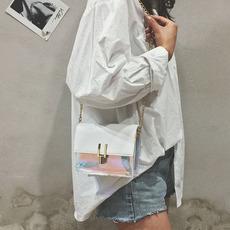夏季女韩版百搭链条斜挎包透明小方包镭射
