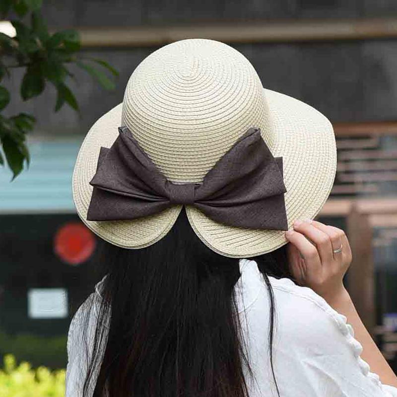 韩国优雅大气蝴蝶结遮阳帽子女士出游防晒夏天太阳帽可折叠草帽女