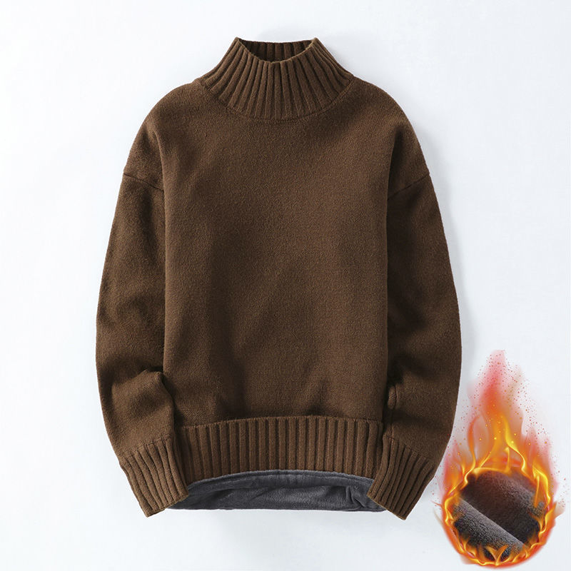 2020冬季男士毛衣男款圆领保暖针织衫男人时尚休闲半高领加厚毛衫