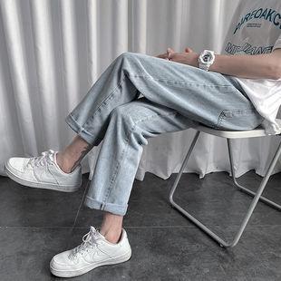 直筒牛仔褲男寬鬆修身九分褲學生百搭休閒