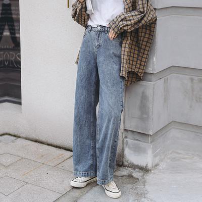 超火cec裤子牛仔拖地裤女新款高腰直筒垂感阔腿老爹裤潮