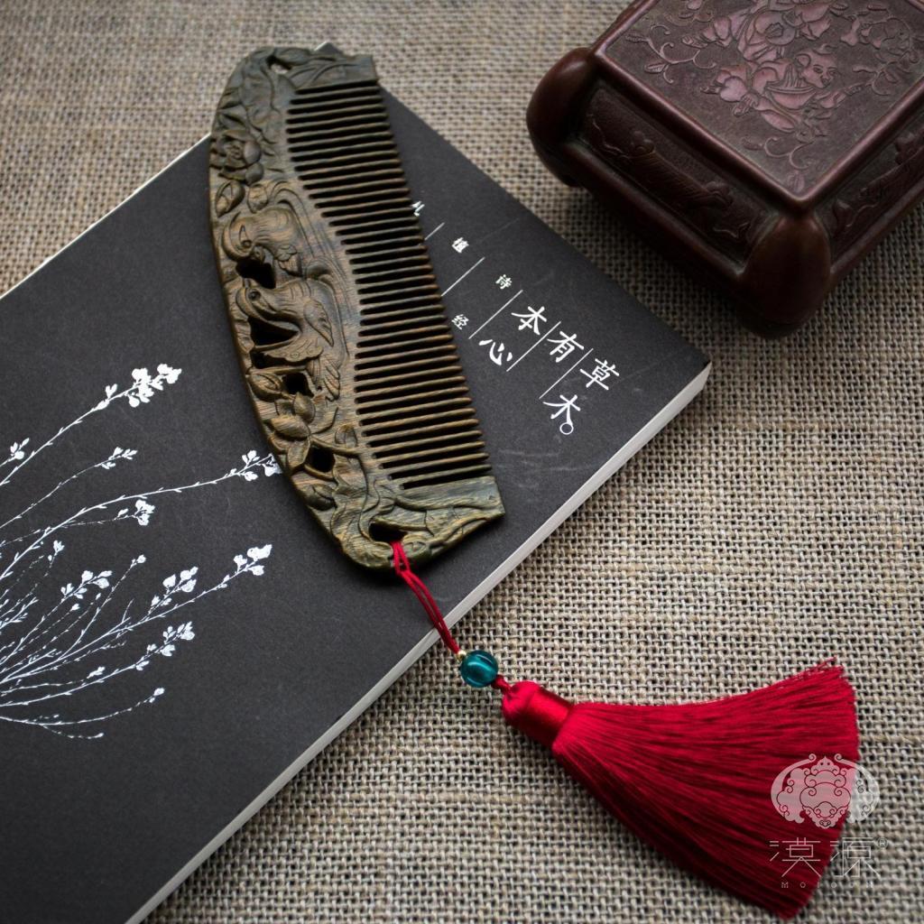 漠源雕花绿檀木梳子,送女刻字定制礼物