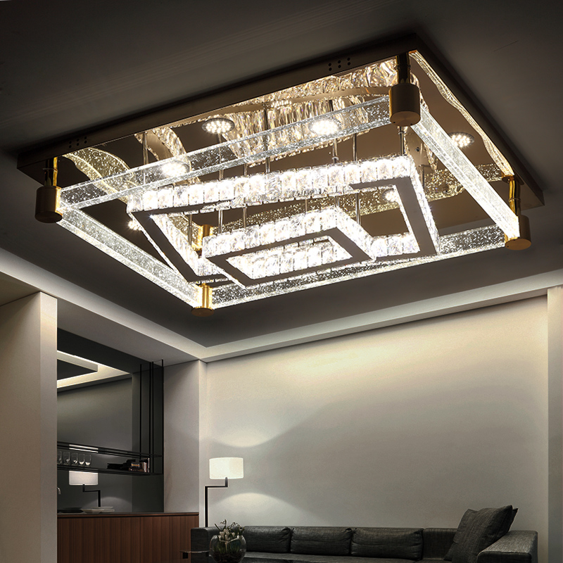 Image Is Loading Led Crystal Ceiling Lamp Remote Control Living Room
