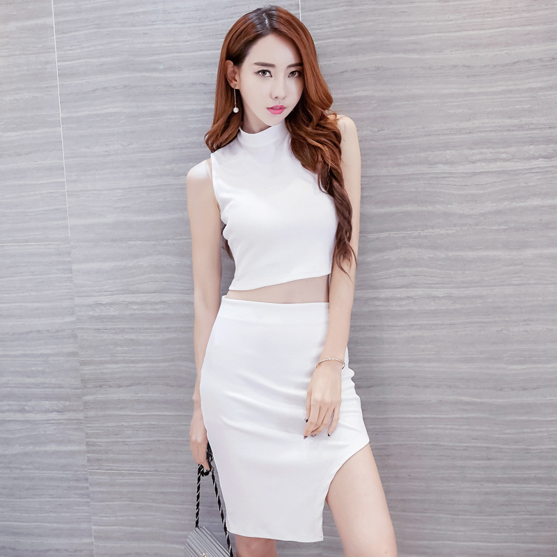 Two Piece Summer Korean Women Fashion Nightclub Sexy Bag Hip