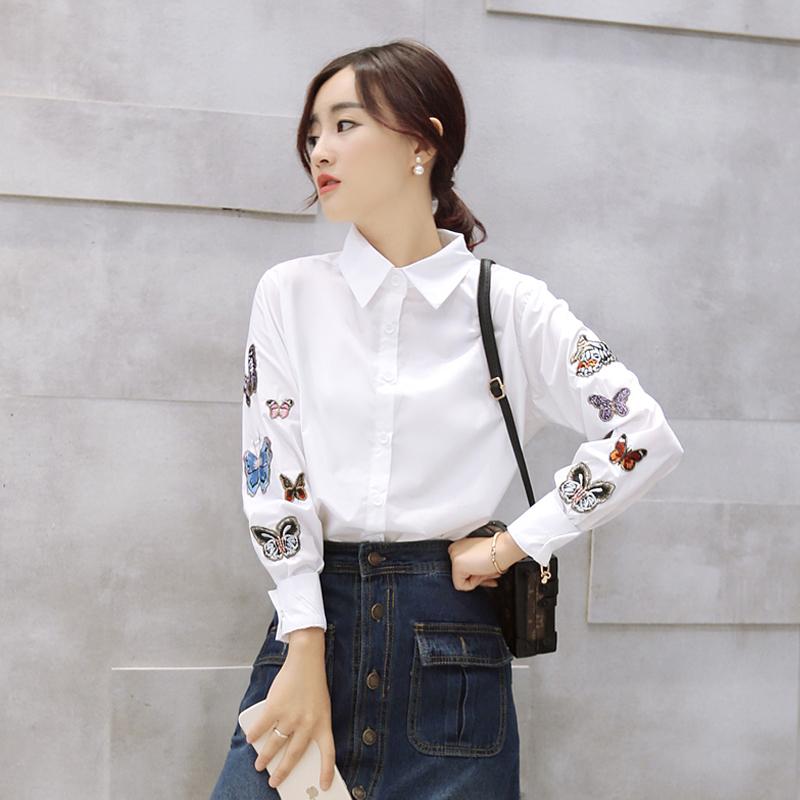 彩色蝴蝶刺绣长袖衬衫