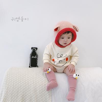 韩国婴儿长袖卫衣三角哈衣女春秋宝宝连体衣爬爬服秋装新生儿衣服
