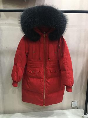 New Dongdaemun jeanette lỏng kích thước lớn dày phần dài cổ áo lông thú lớn xuống áo khoác của phụ nữ eo chống mùa giải phóng mặt bằng Xuống áo khoác