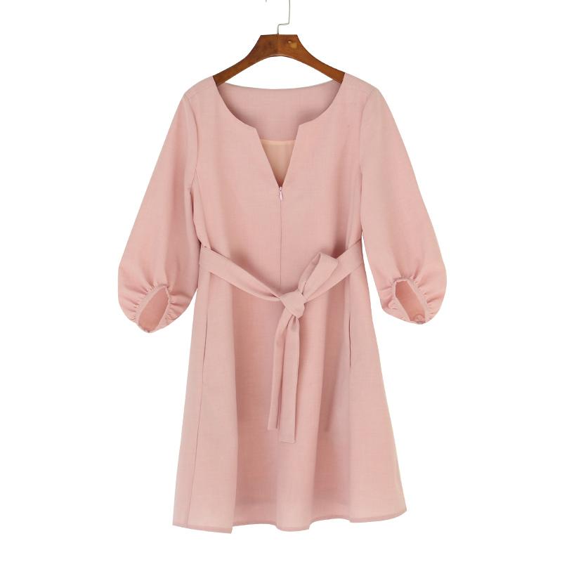 AMUM橘粉色宽松可哺乳连衣裙