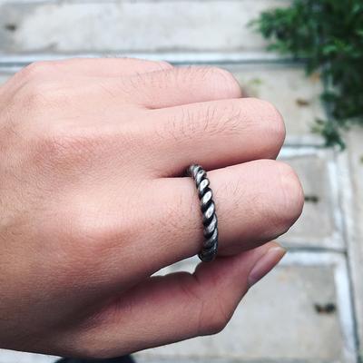 韩国极简风复古流行简约气质百搭螺纹字母套装男女尾戒关节戒指环