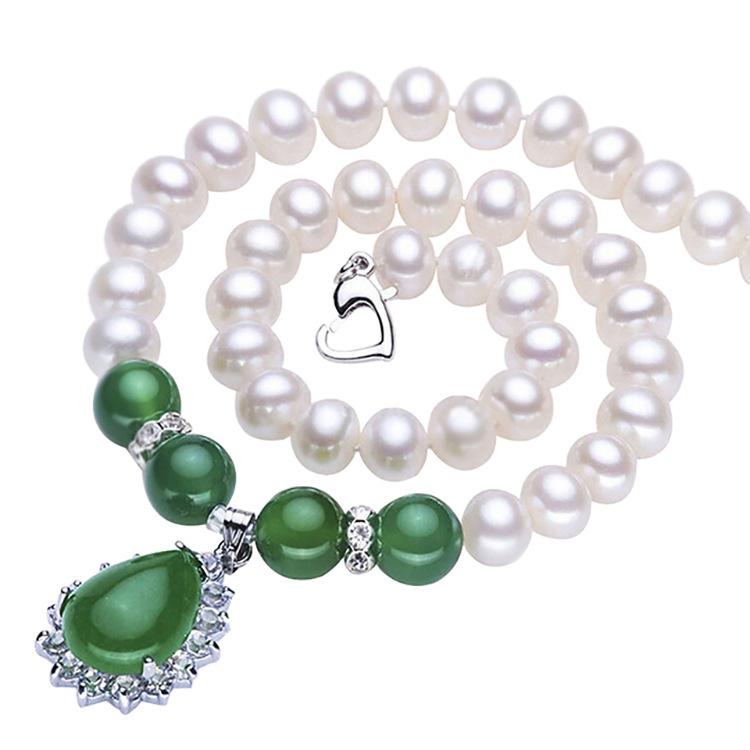 珍珠链妈妈款母亲节礼物淡水珍珠玛瑙天然淡水珍珠项链送老人项链