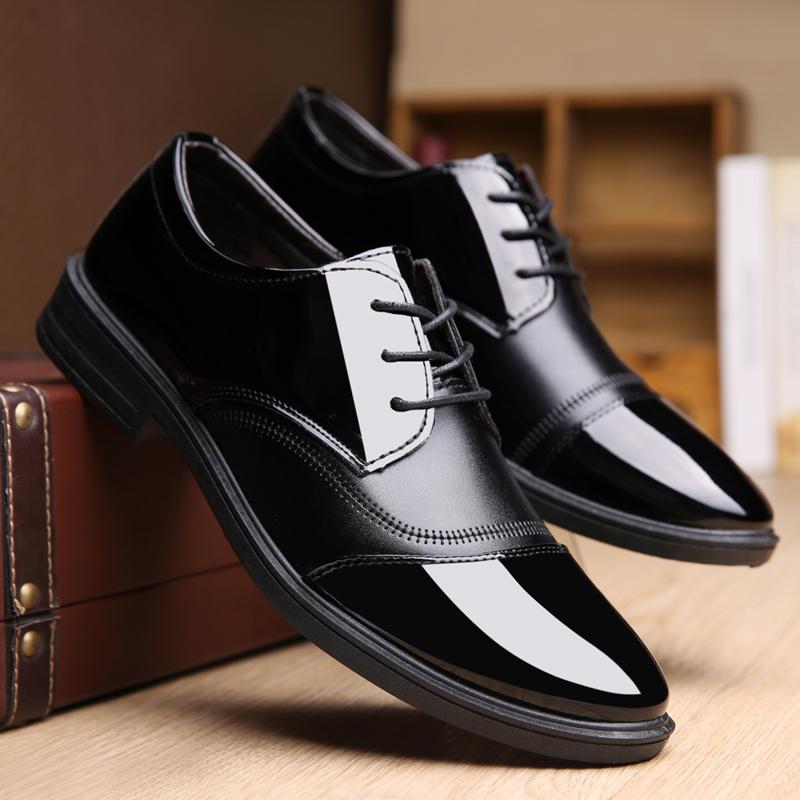新款春夏季透气商务正装休闲男皮鞋防滑男士皮鞋亮面系带男鞋子