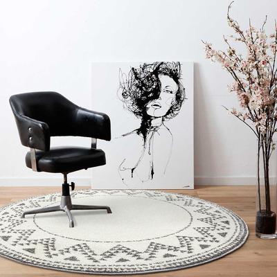 北欧简约几何轻奢风圆形地毯现代创意客厅沙发茶几卧室柔软地毯