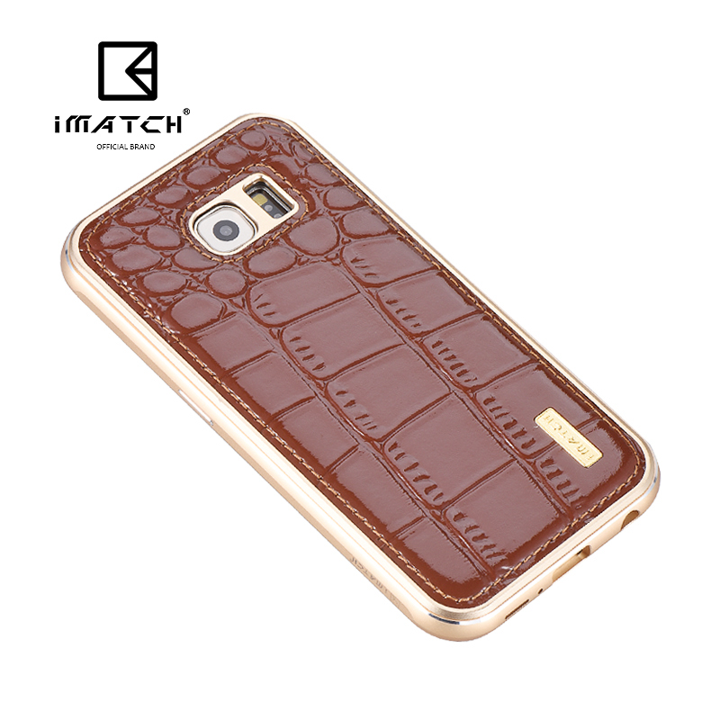 iMatch Luxury Aluminum Metal Bumper Premium Crocodile Grain Genuine Leather Back Cover Case for Samsung Galaxy S6 Edge G9250