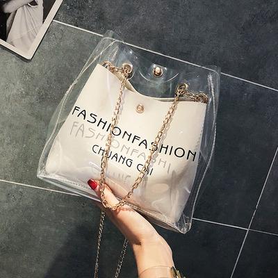 透明果冻上新质感包包女秋季新款百搭斜挎水桶网红小黑包