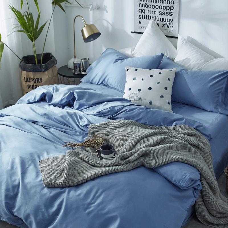 简约全棉60支贡缎长绒棉四件套 小清新纯棉床单被套1.8m床上用品
