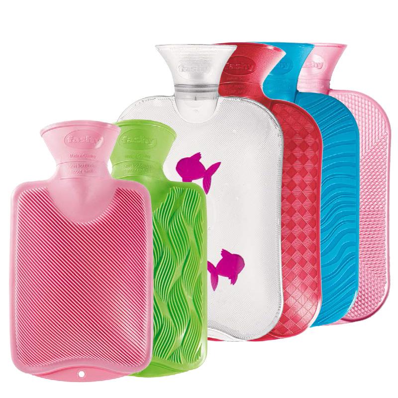 德国Fashy热水袋进口防爆※PVC充加厚注水大小号暖水袋暖手宝送外套