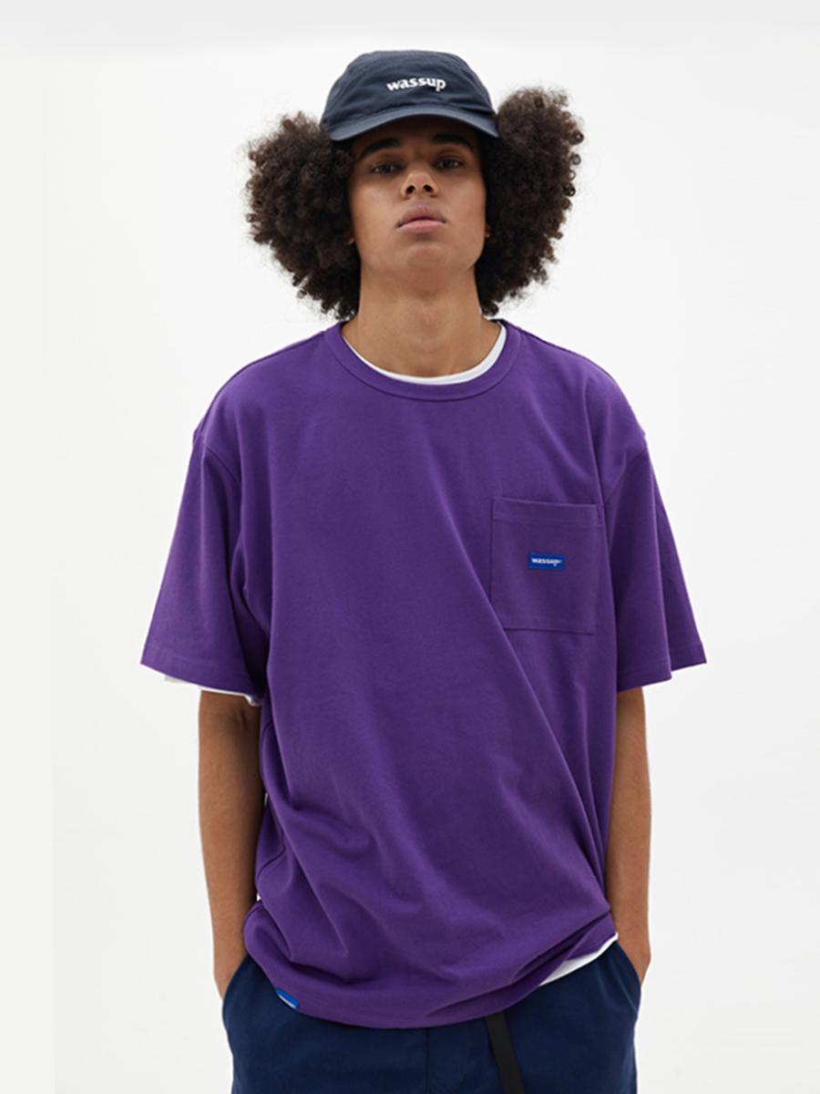 WASSUP春夏季新品圆领打底纯色半袖基础pocket短袖男装t恤衫
