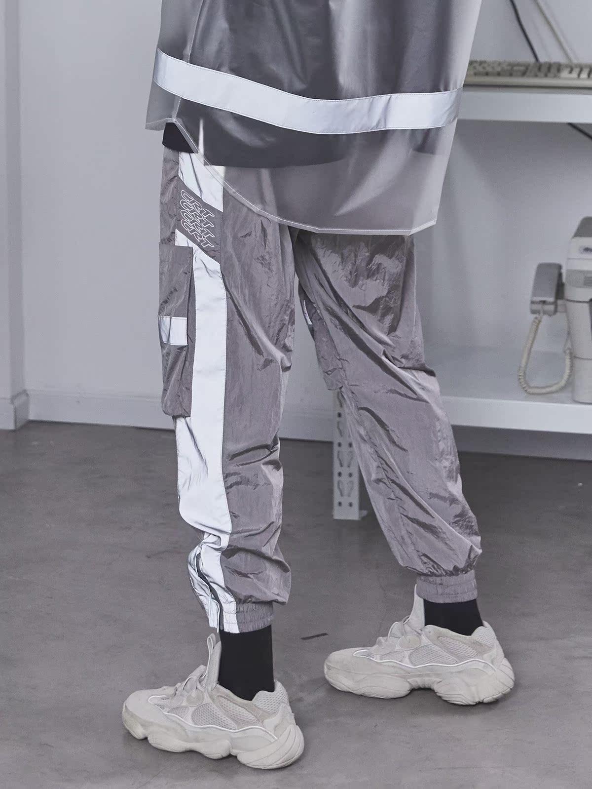 CHRROTA 3M反光国潮嘻哈街舞复古运动工装宽松情侣九分裤束脚裤