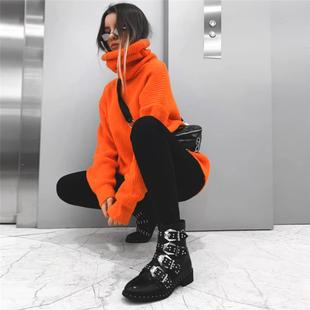 Европа и америка 2019 новинка зимний осеннний твердый высокий воротник длина свитер женщина ins улица свободный крышка ягодица верхняя одежда куртка