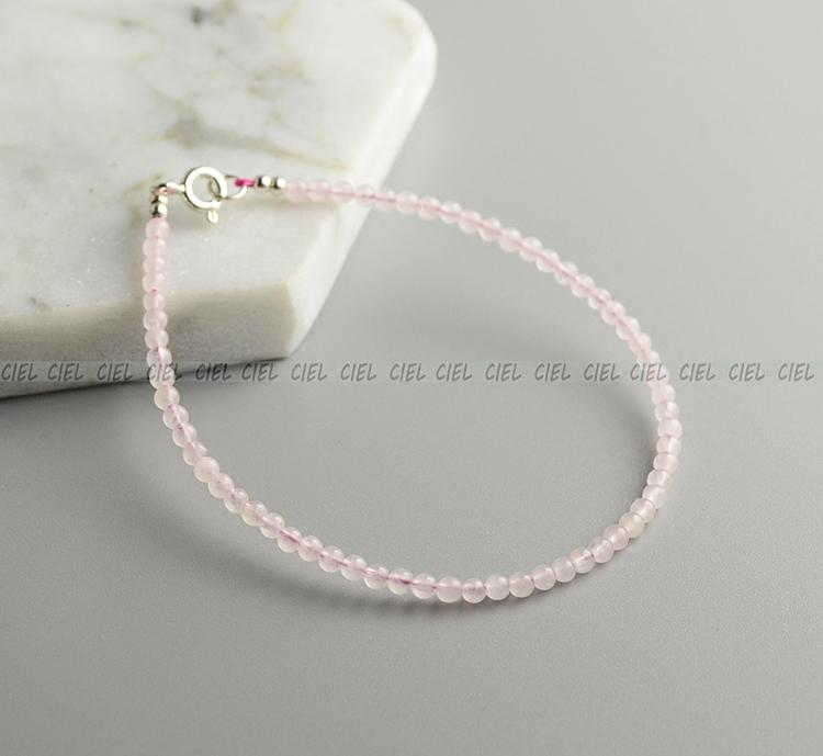 Ciel Original Handmade Màu hồng pha lê tự nhiên Vòng đeo tay 2 mm Rất tốt Vòng cổ Vòng chân Vòng hoa đào Hạt - Vòng chân