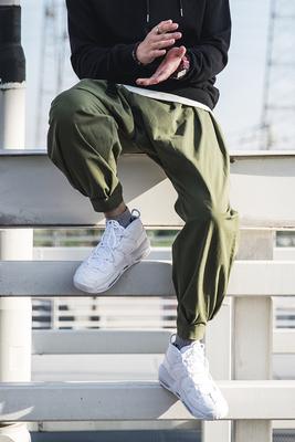 Mùa hè Mỹ yếm quân xanh vương miện Xi lỏng rộng quần chân sóc bay quần quần lớn quần chùm giản dị nam triều Quần làm việc