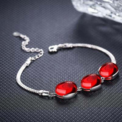 S925纯银绿玉髓红玛瑙手链女日时尚复古红宝石百搭气质首饰品